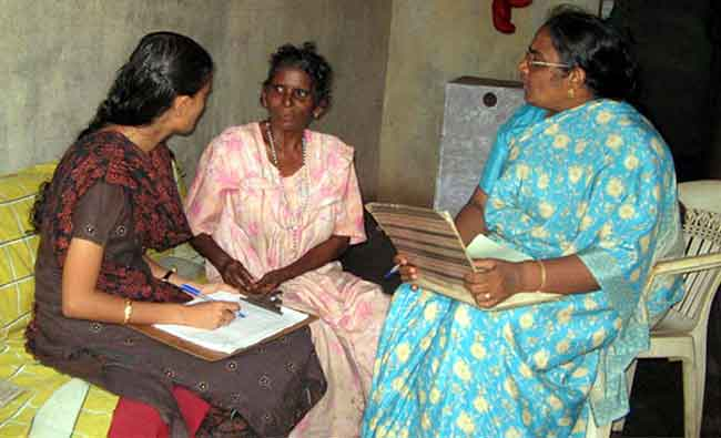 Palliative care volunteers collecting data.